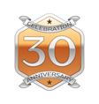 Thirty years anniversary celebration silver logo vector image vector image