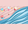 top view blue sea and beach paper waves with vector image