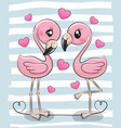 two cartoon flamingos on a blue background vector image