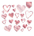 valentine hearts on white background vector image vector image