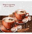 winter hot tea and gingerbread cookies vector image