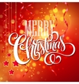 Christmas text design on red bokeh background vector image