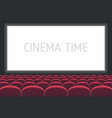 cinema with white screen and red seats vector image