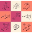 Set of nine with sports equipment vector image