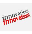 3d innovation text design vector image