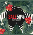 50 percent sale background with exotic rainforest vector image vector image