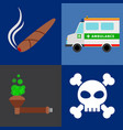 ambulance tobacco drugs death icons vector image