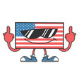 american flag with sunglasses giving middle vector image
