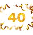 anniversary banner 40th gold ribbon fly vector image vector image