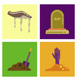 assembly flat icons halloween zombie hand grave vector image vector image