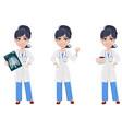 beautiful cartoon character medic set vector image vector image