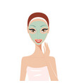 beautiful happy woman with face mask spa skin care vector image vector image