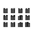 black company icons and buildings set isolated vector image vector image
