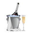 bottle of festive champagne laying in ice vector image