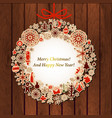christmas card with vintage wreath label on wood vector image vector image