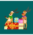christmas set deer with banner isolated happy vector image