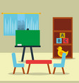 classroom kinder chalkboard table chair toys vector image