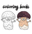 coloring book with porcini a edible mushroom vector image vector image