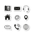 contacts set sticker icons vector image vector image