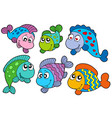 crazy fishes collection vector image
