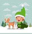 cute santa helper with reindeer in snowscape vector image