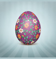 easter egg with a floral pattern vector image vector image