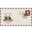envelope with a postage stamp for a beer pub vector image vector image