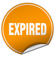 expired round orange sticker isolated on white vector image vector image