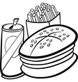 fast food cartoon for coloring book vector image vector image