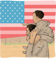 father and son immigrant in front usa flag vector image vector image