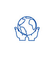 global business in hands line icon concept global vector image vector image