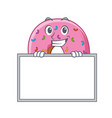 grinning with board donut character cartoon style vector image vector image