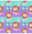 hand drawn cute lion seamless pattern and card vector image vector image