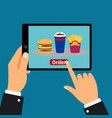 hand holding tablet order fast food vector image vector image