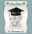 high school academic concept with graduation cap vector image vector image
