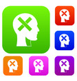 human head with cross inside set color collection vector image vector image