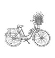 ity bicycle with flowers vector image vector image