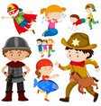 kids in different costume vector image vector image