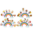 Kids standing on rainbow vector image vector image
