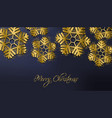 merry christmas golden glitter snowflakes vector image