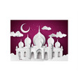 mosque in the night moon vector image vector image