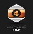 number letter four logo in silver-golden hexagonal vector image vector image