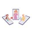 online birthday party girls congratulate friend vector image