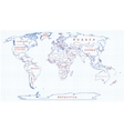 Political map of the world drawn with blue pen vector image vector image