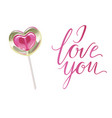 romantic lollipop in the shape of a heart and i vector image vector image