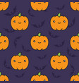 seamless halloween pattern with pumpkins on dark vector image vector image