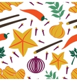 Seamless pattern with fresh vegetables and spices vector image