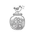set cloth buttons in jar with bird in boho vector image