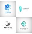 set jewelry logos diamond vector image vector image