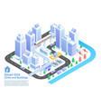 smart grid cities and buildings isometric vector image